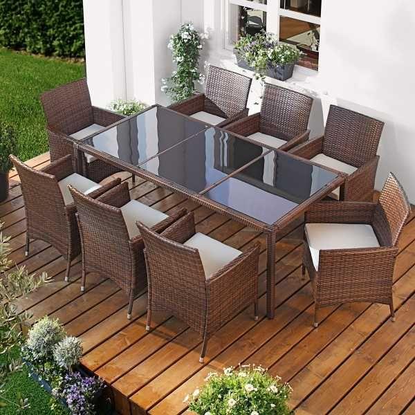 Polyrattan Gartenmöbelset Elegance 9tlg Braun Gartengarnitur - gartenmobel set polyrattan braun