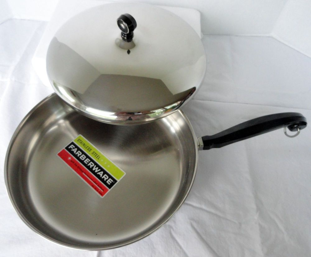 Farberware 10 Skillet Frying Pan W Lid Stainless Steel Aluminum Clad Nos New