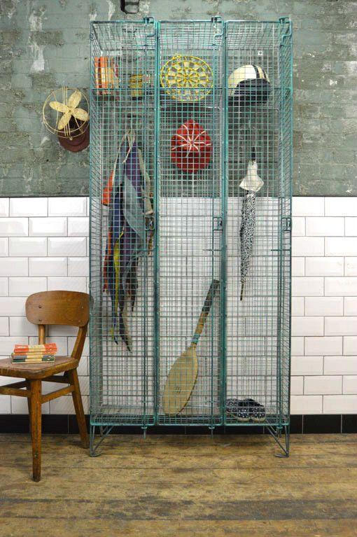 Vintage Industrial Metal Triple Wire Mesh Locker Wardrobe