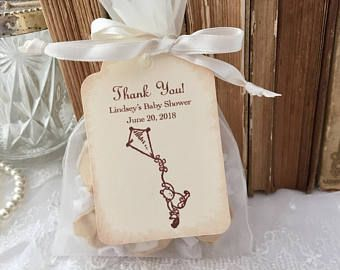 Winnie The Pooh Baby Shower Favor Set Organza Bags And Personalized Tags