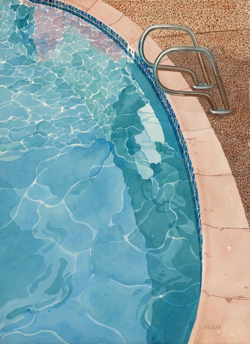 Leslie White Pool Steps Painting Watercolor On Watercolor