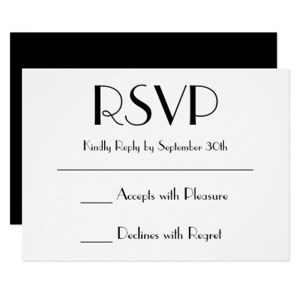 Create Your Own Black and White RSVP Card wedding invitations
