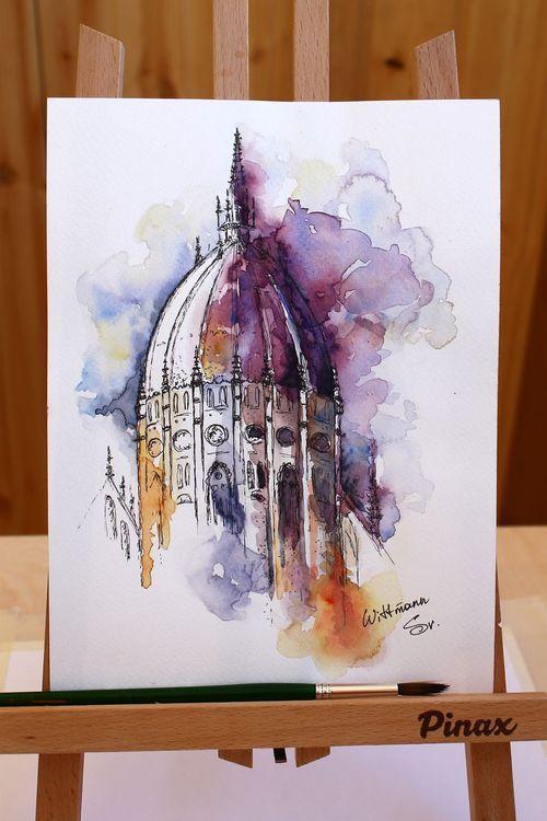 Original Watercolor Artwork 18x24 Cm 7 X9 5 Architecture Sketch