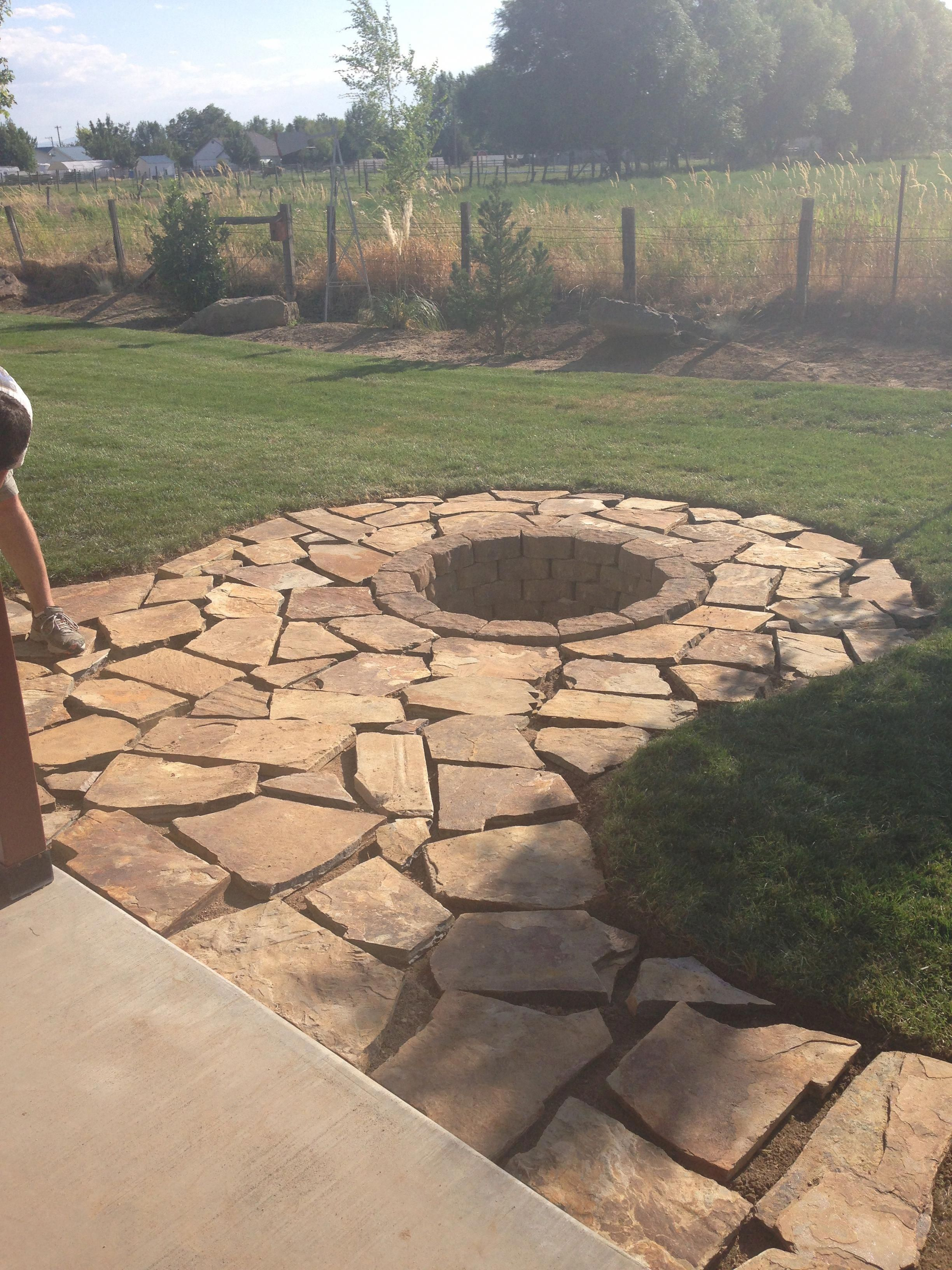 """Photo of Flag stone pad and stone fire pit #""""outdoorfirepitdesigns"""""""