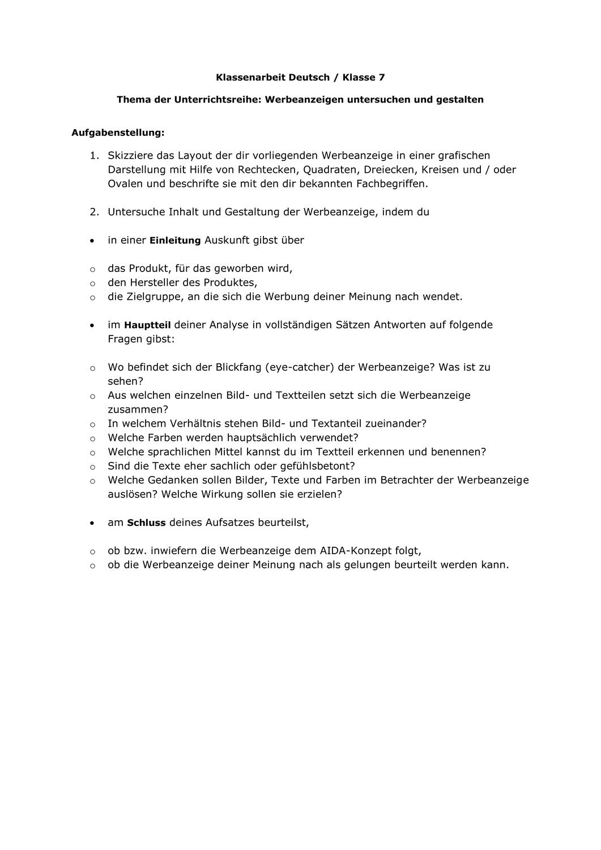 Werbung Klassenarbeit Deutsch Analyse Werbeanzeige Klasse 7 Unterrichtsmaterial Im Fach Deutsch In 2020 Klassenarbeiten Aufgabenstellung Werbeanzeigen