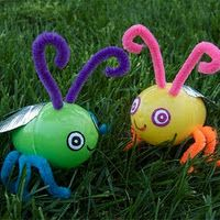 Homemade Toy Fireflies -add battery operated tea lights inside them to light them up at night.