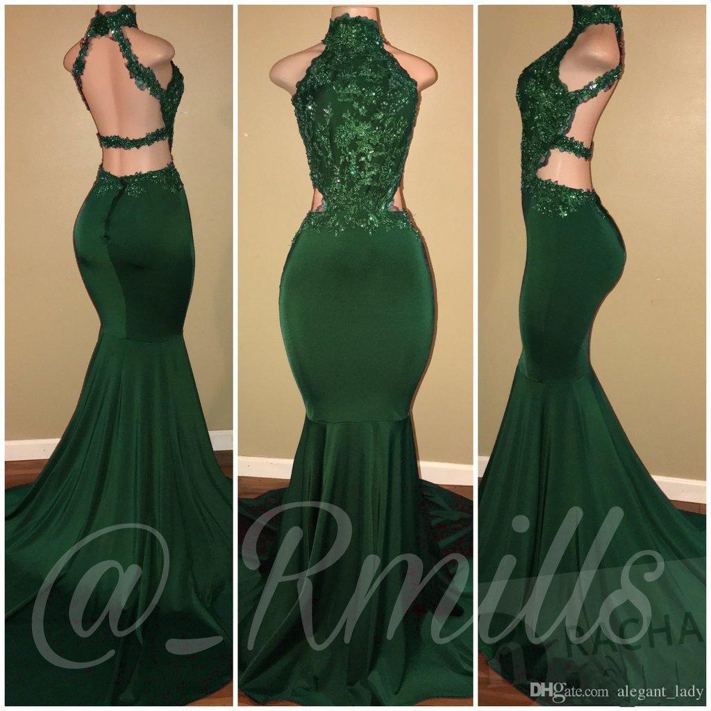 Long Hunter Green Prom Dresses 2018 Sexy Mermaid High Neckline Backless  Evening Dresses Wear Cheap Formal Floor Length Party Gowns Overskirt Evening  Dress ... c2f4b1deac13