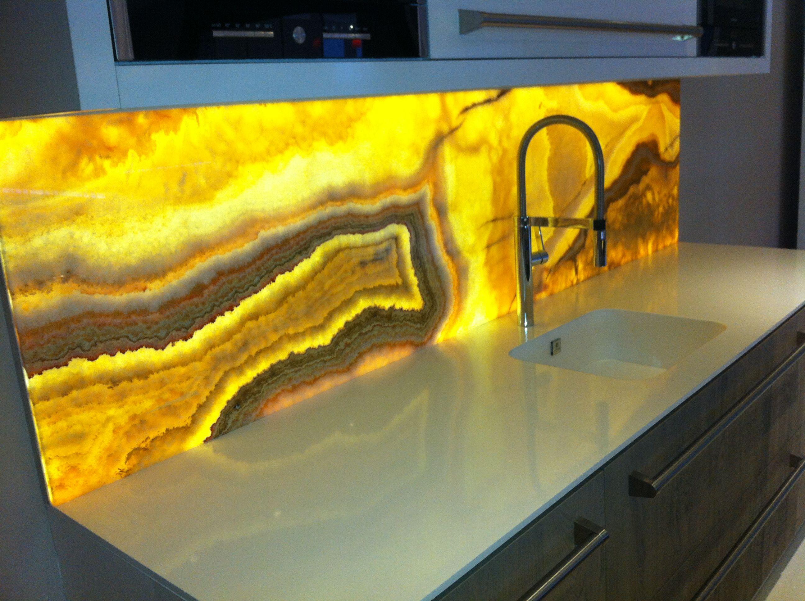 LEDison illuminated kitchen splashback | Glass kitchen splashbacks ...