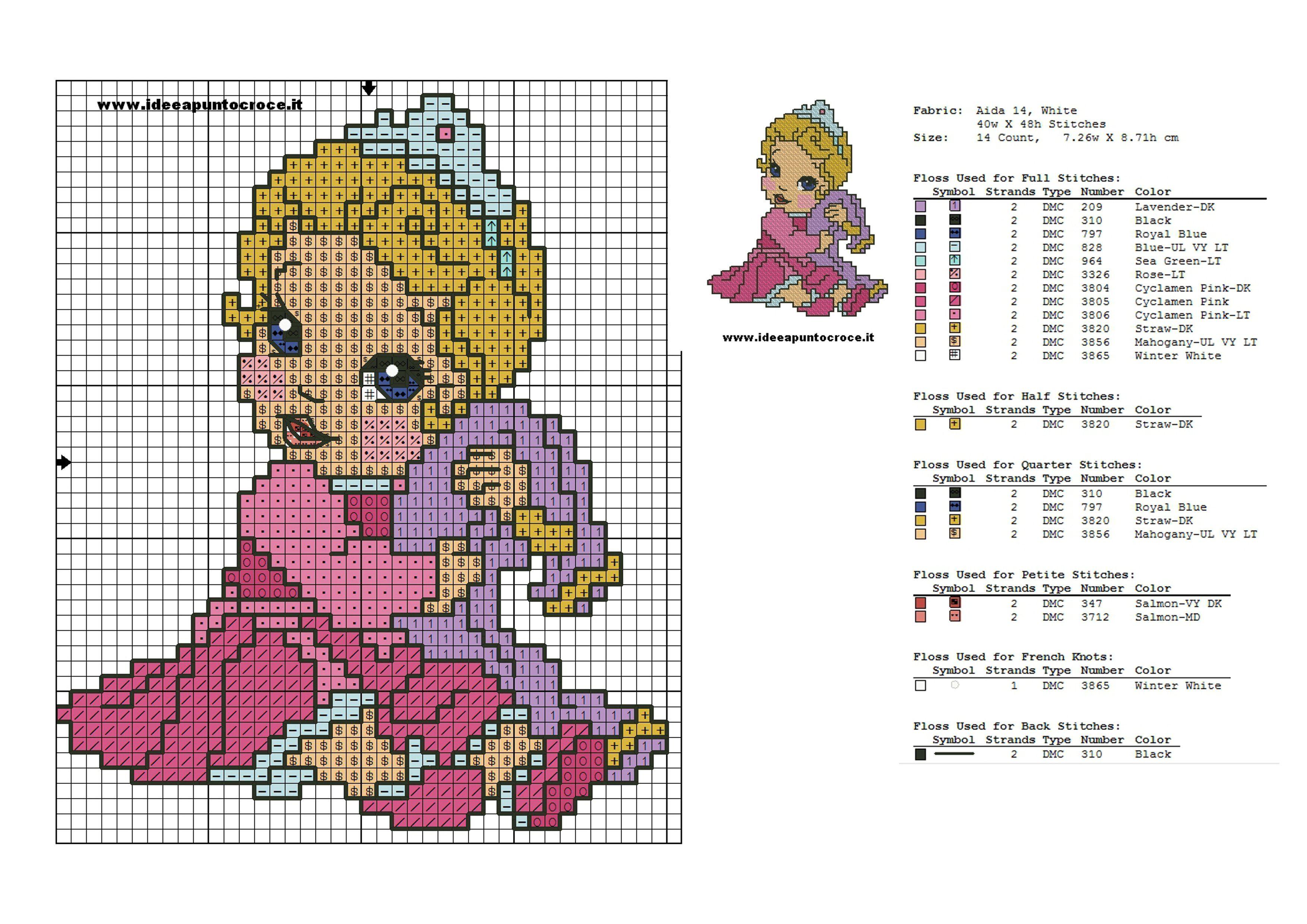 COLORI AURORA BABY PUNTO CROCE | Princesas Disney patrones en punto ...