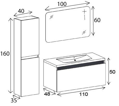 Meuble de salle de bain simple vasque 110 cm calypso for Meuble vasque 110