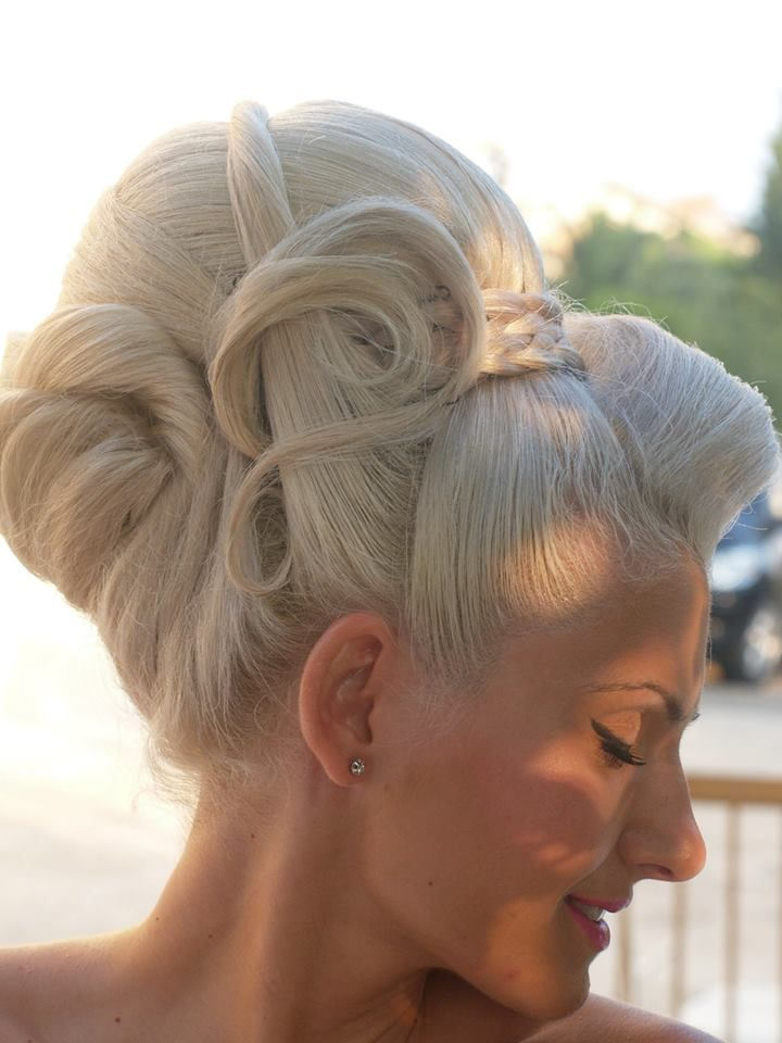cool platinum updo vintage hair