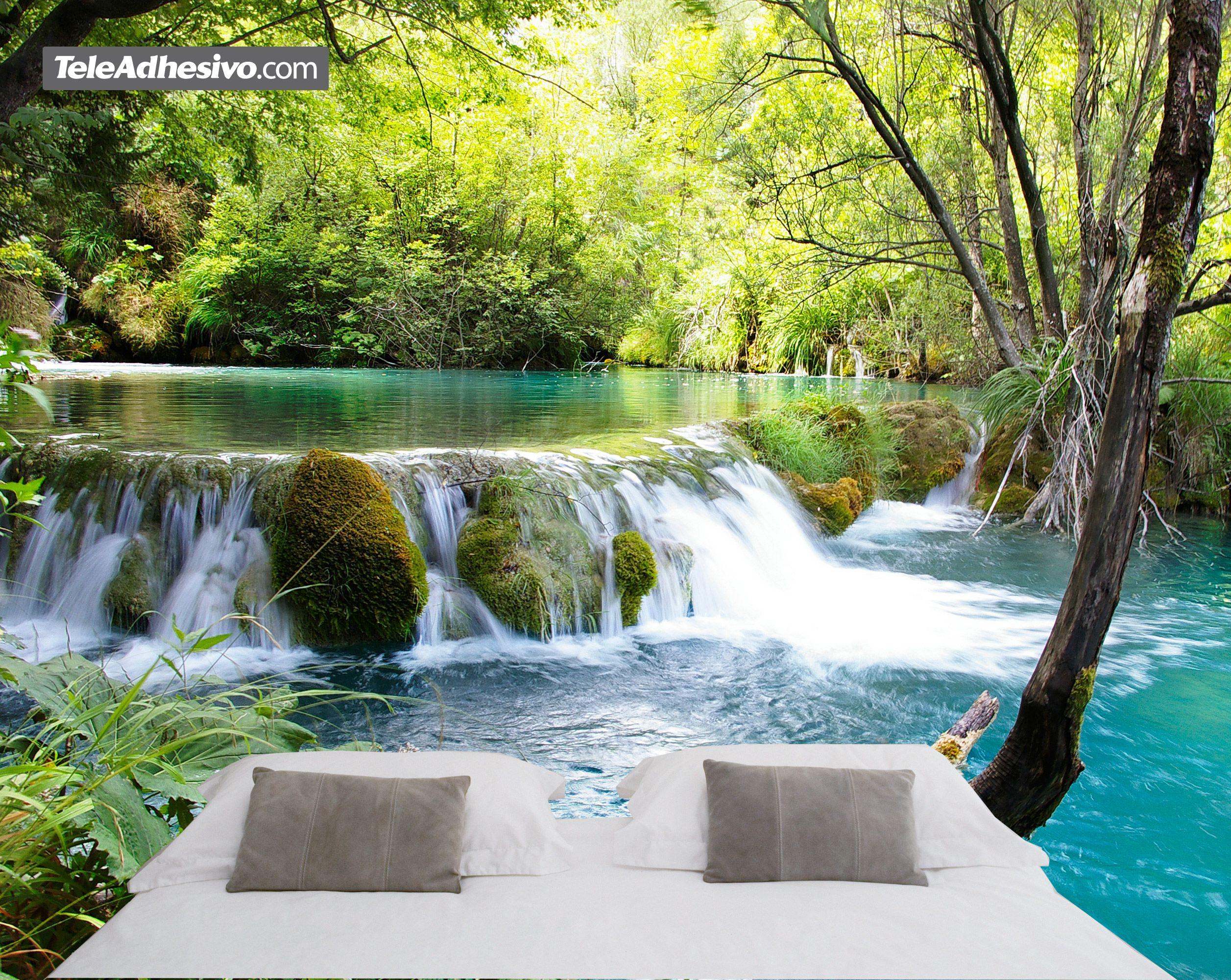 Fotomurales: Vegetación y río con cascada   pared decoración ...