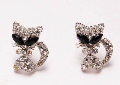 Amazon.com: Cute Alien Eyes Cartoon Kitty Pussy Cat Clear Crystal Rhinestone Stud Earrings: Jewelry