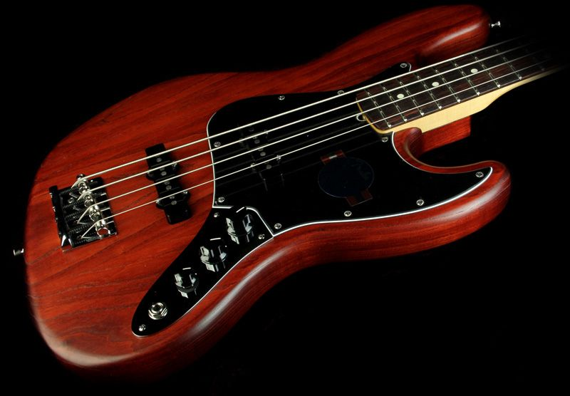 Fender American Standard Hand Stained Ash Jazz Bass Wine Red