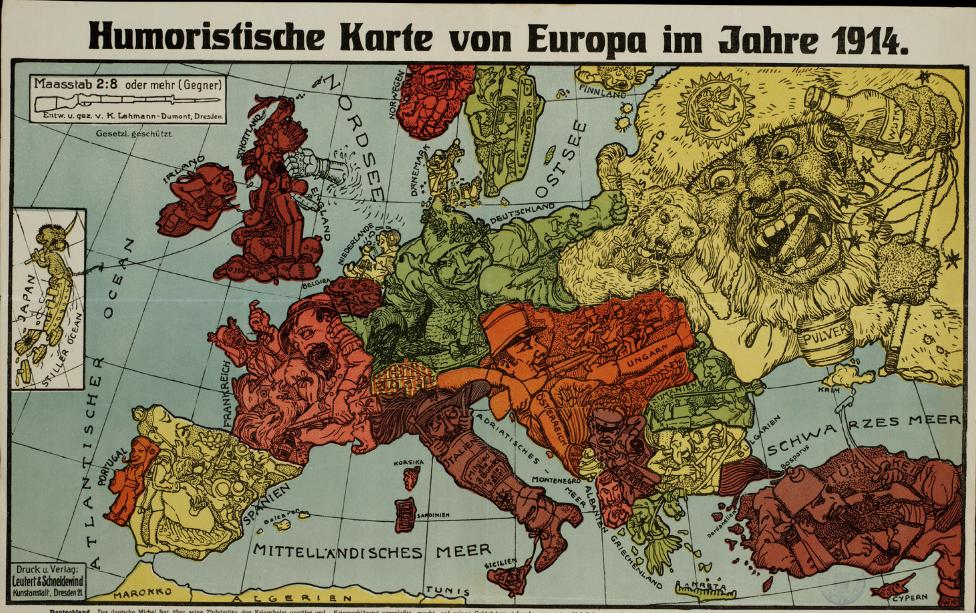 Humoristische Karte Von Europa 1914.Humoristische Karte Von Europa Im Jahre 1914 Maps