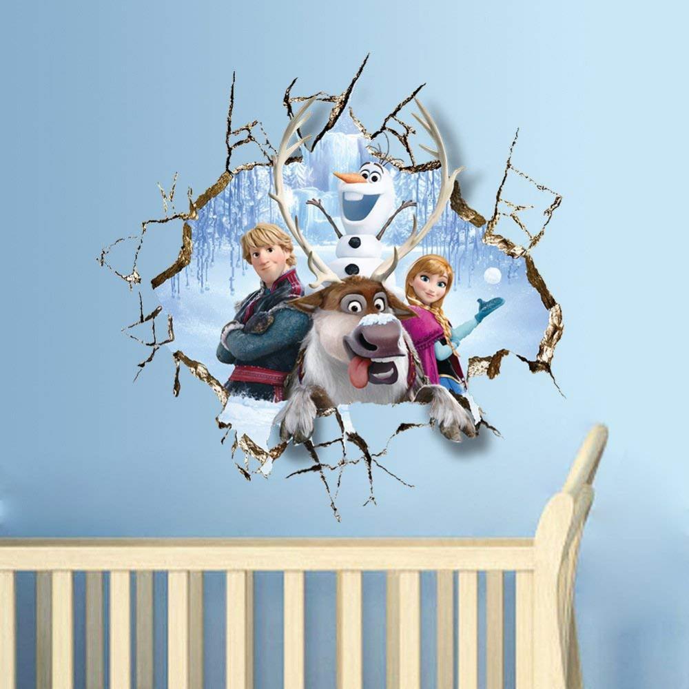 DIY 3D Through Walls Poster Anna Frozen Wall Stickers Home ...