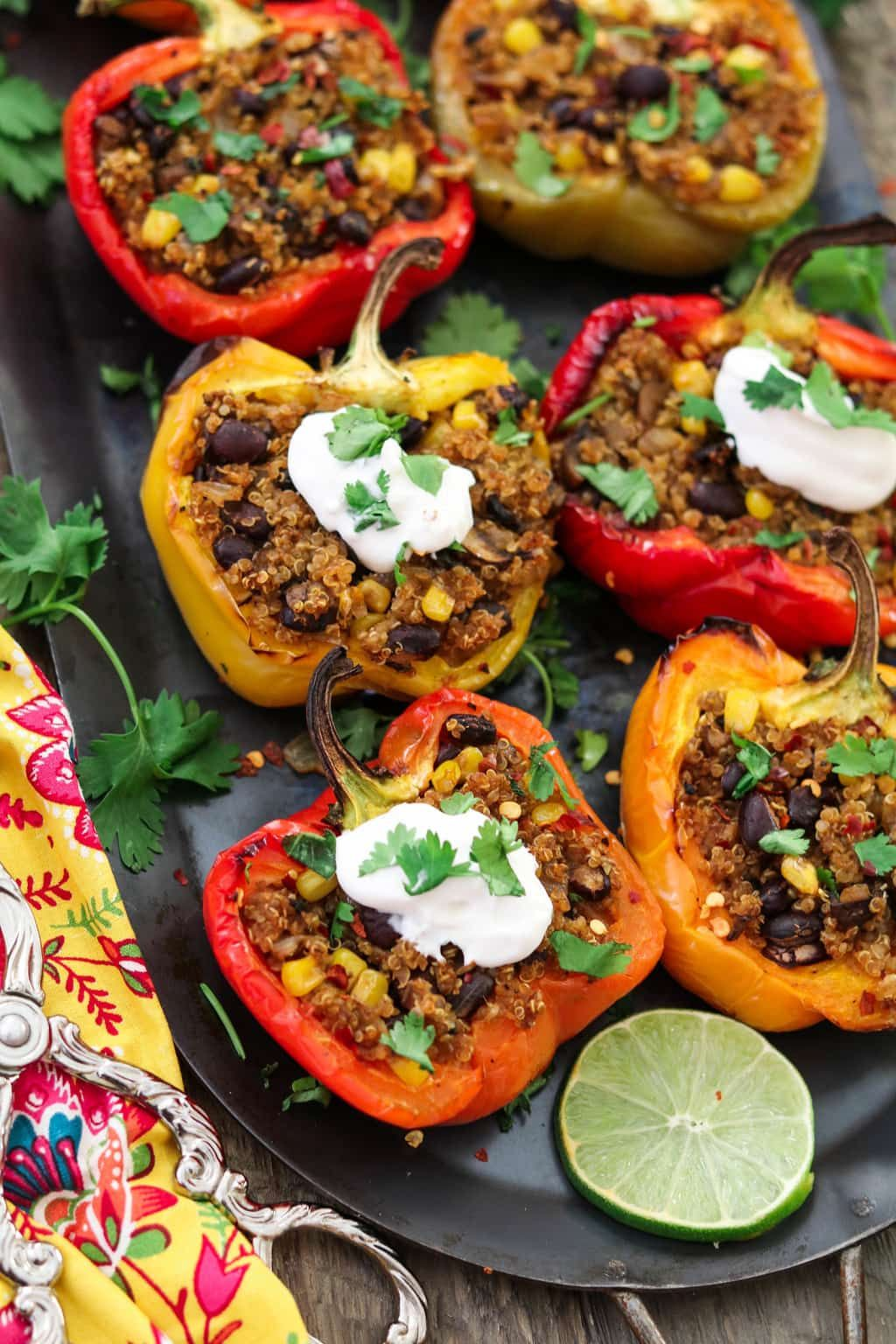 Santa Fe Quinoa Stuffed Peppers Recipe Organic Nutrition Organic Recipes Food
