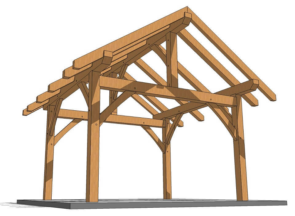 14x14 Post And Beam Plan Timber Frame Hq Timber Frame Post And Beam Timber Frame Porch