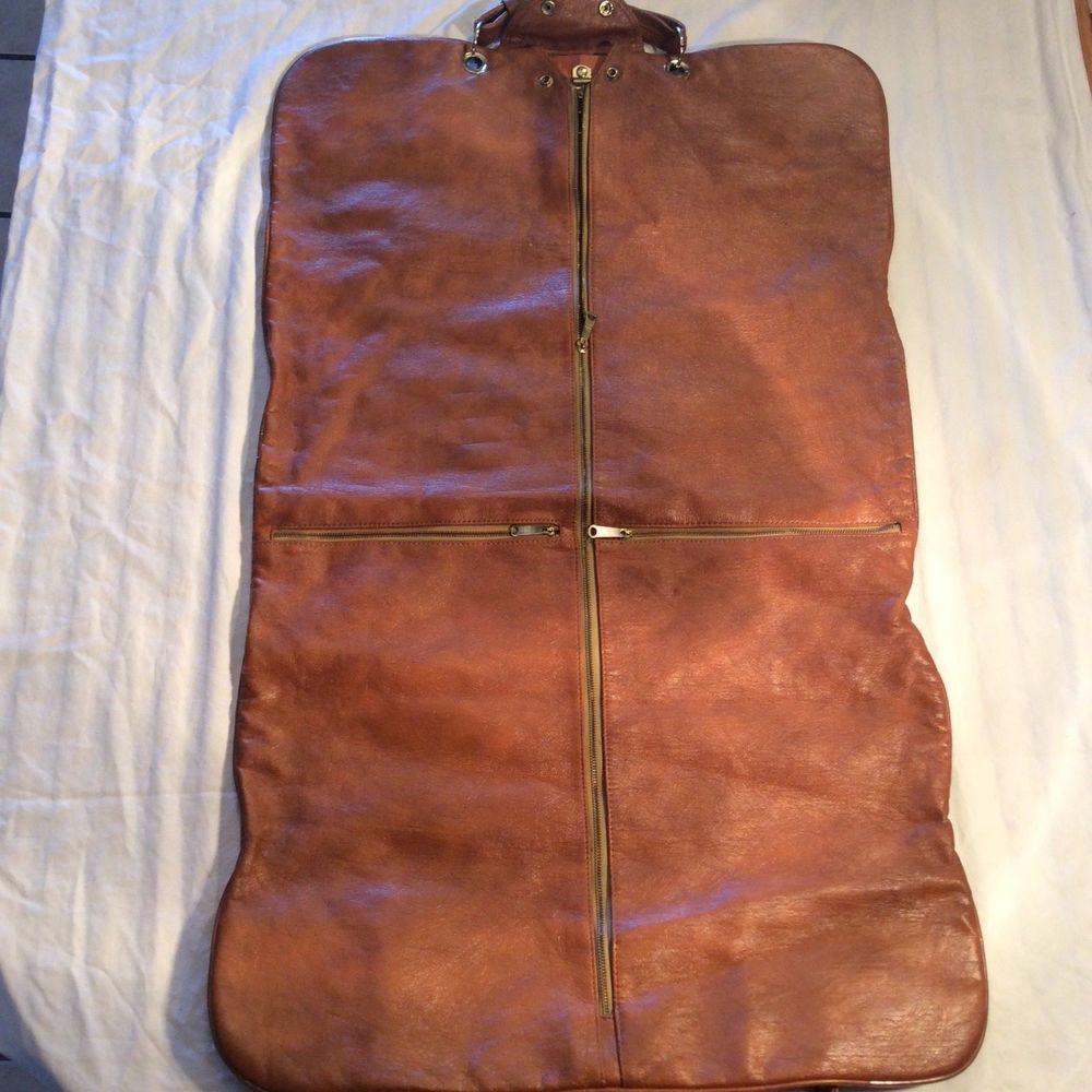 fc1b5830f1cc Vintage Leather Garment Bag men's dress suit carrier cover case ...