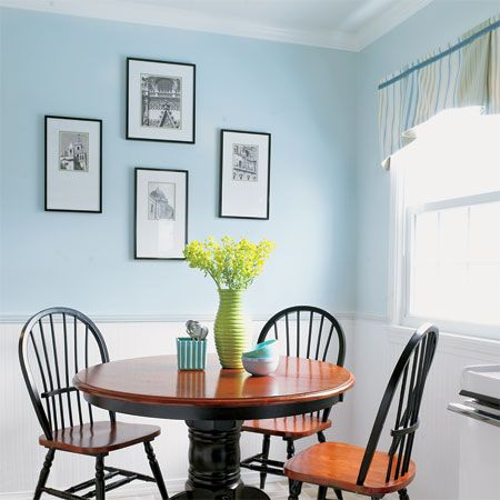 Blue Walls Dark Wood Furniture Bright Windows Blue Kitchen Walls Light Blue Kitchens Home Decor