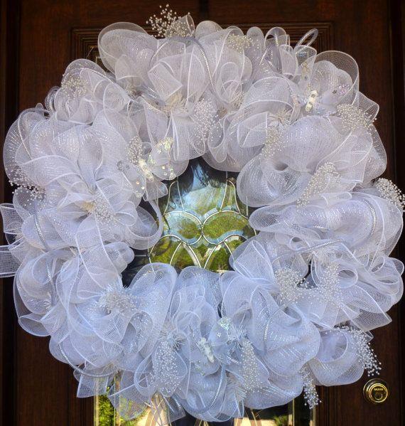 36 Deco Mesh WHITE WEDDING WREATH by decoglitz on Etsy