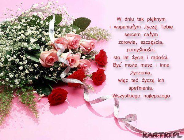 życzenia Imieninowe Birthday Wishes Great Words Rose