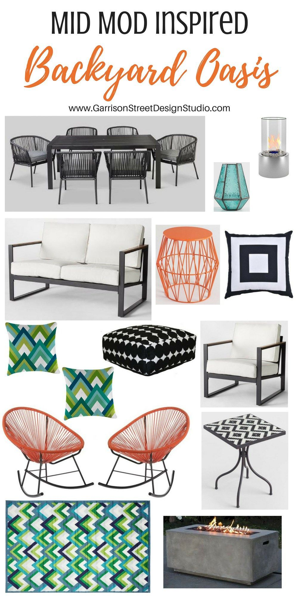 Friday Favs Mid Mod Edition Garrison Street Design Studio Palm Spr White Patio Furniture Mid Century Patio Furniture Mid Century Modern Outdoor Furniture