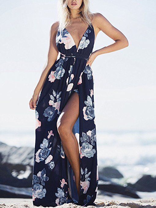 BerryGo Women s Sexy Deep V Neck Backless Floral Print Split Maxi Party  Dress at Amazon Women s Clothing store  dress  summer  cute  casual  sexy   afflink 65268af33