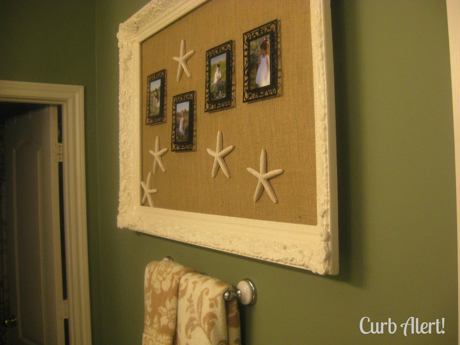 I love this look with the burlap background and the starfish with ...