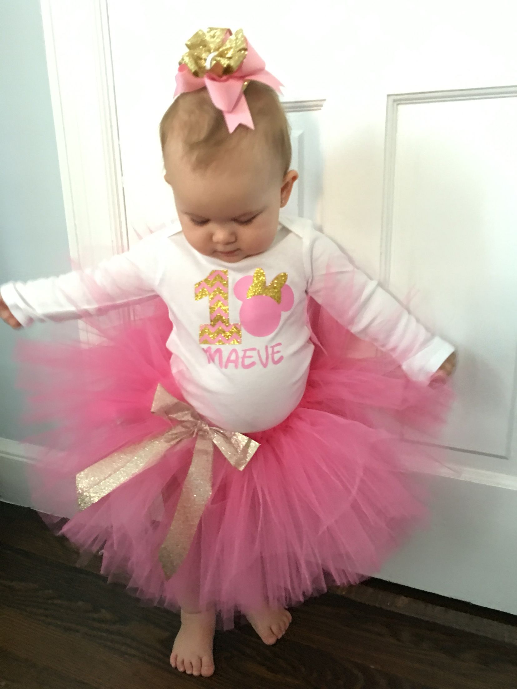 695a8c409982c Maeve's Birthday outfit! Pink and gold Minnie Mouse | First Birthday ...