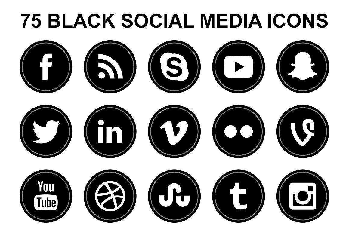 Black Social Media Round Icons Icon, Social media icons