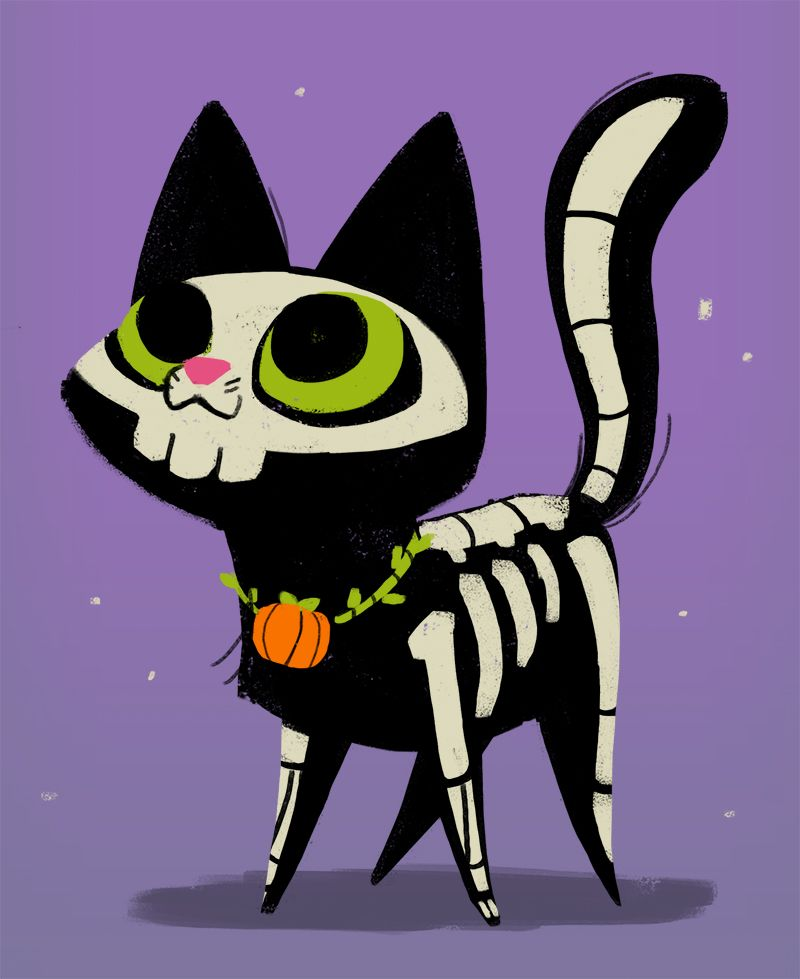 Skeleton Cat By Heather Nesheim Daily Cat Drawings Halloween