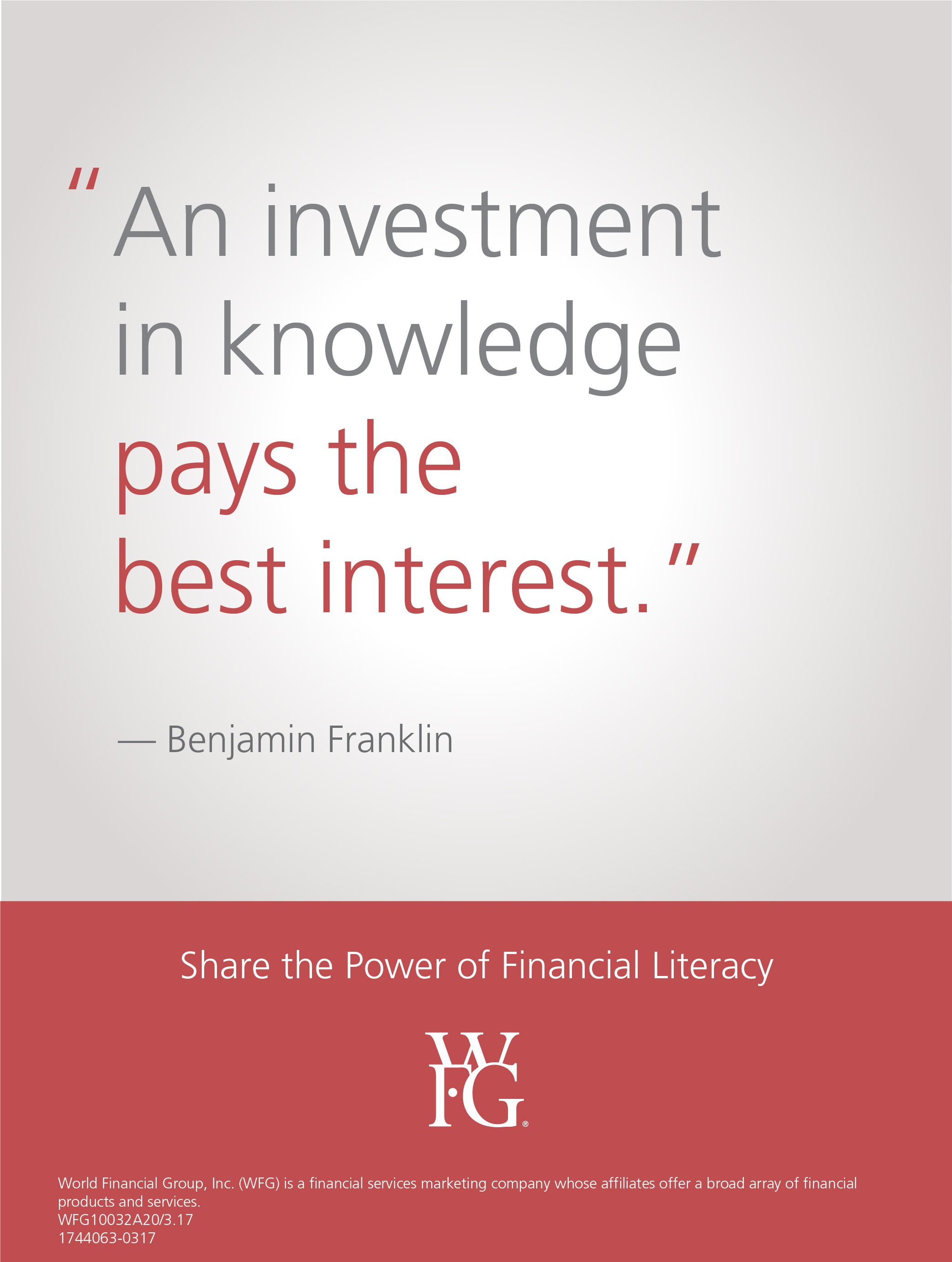 Wfg Opportunity Financial Literacy Month Financial Quotes