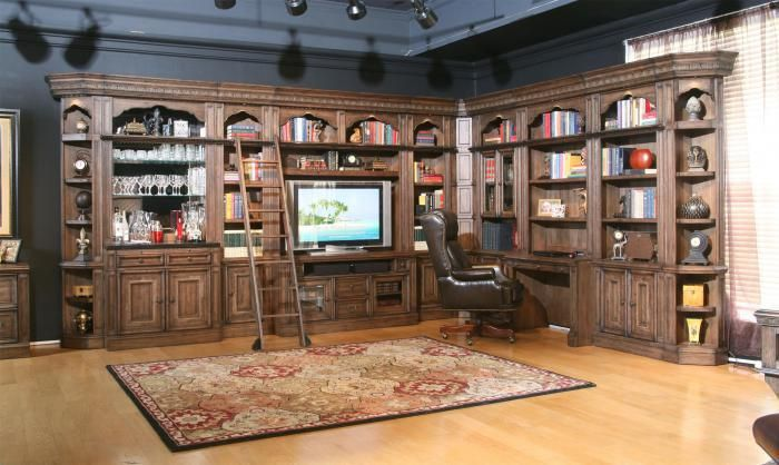 Bewleyu0027s Furniture   Shreveport, LA Aria Library Complete Wall Unit With  Mirror Backed Bar