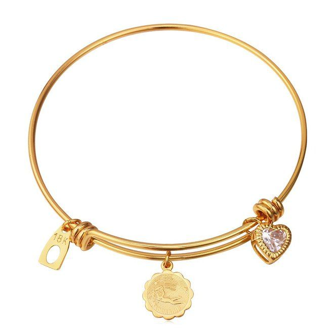U7 Jewelry Twelve Zodiac Signs Bracelet 18K Gold Plated Zirconia Constellation Charm Bracelet Expandable Wire Bangle Bracelet