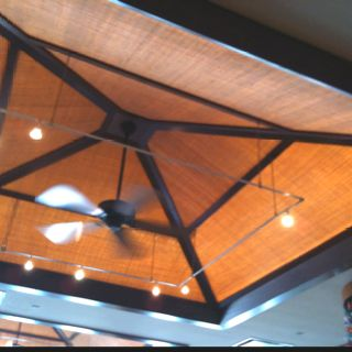 Bedroom ceiling idea. Back-lit burlap canopy for mood lighting