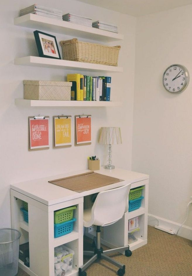Stunning DIY Wall Shelves And Desk Using Minimalist Concept For Home Office  Decorating Ideas On A Budget