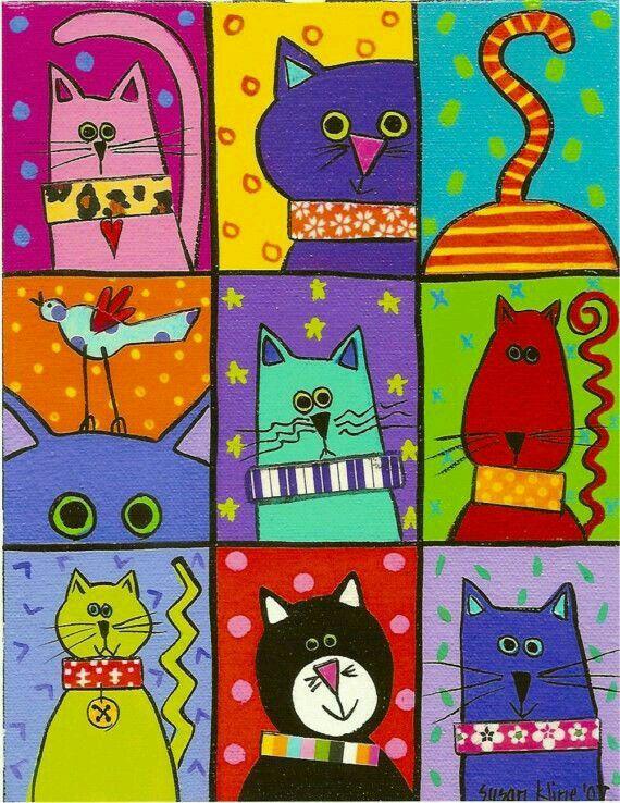 Pin De Tatos Craft En Colagem Arte Con Gatos Gatos Para Pintar Pinturas De Gato