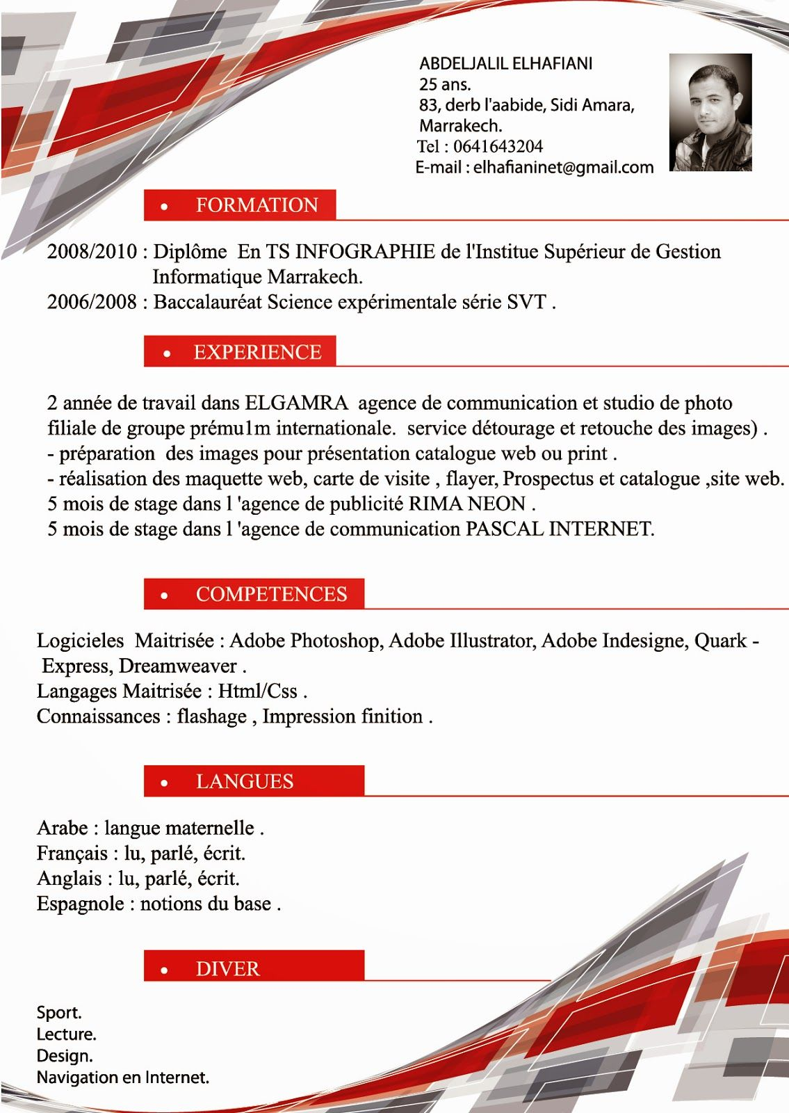cv modele seconde