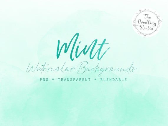Mint Watercolor Backgrounds 12 BACKGROUNDS (png
