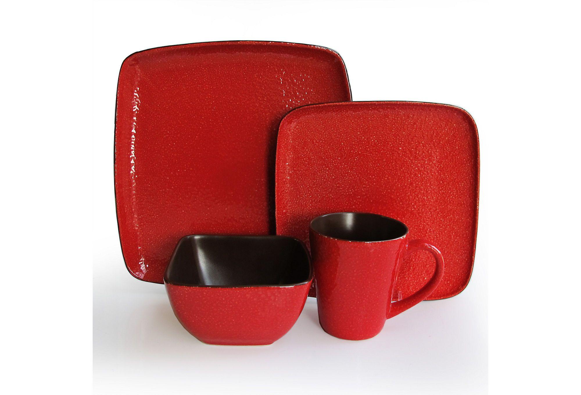 "Jay Import's 16-Pc Caliente Dinnerware Set, Red ceramic - dinner plate, 10.75""; salad plate, 8.75""; bowl, 6.75""; mug, 15 oz.  75 - orig. 140"