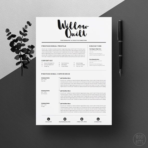 4page Resume Template   CV Template Pack + Cover Letter for Word + - instant resume builder
