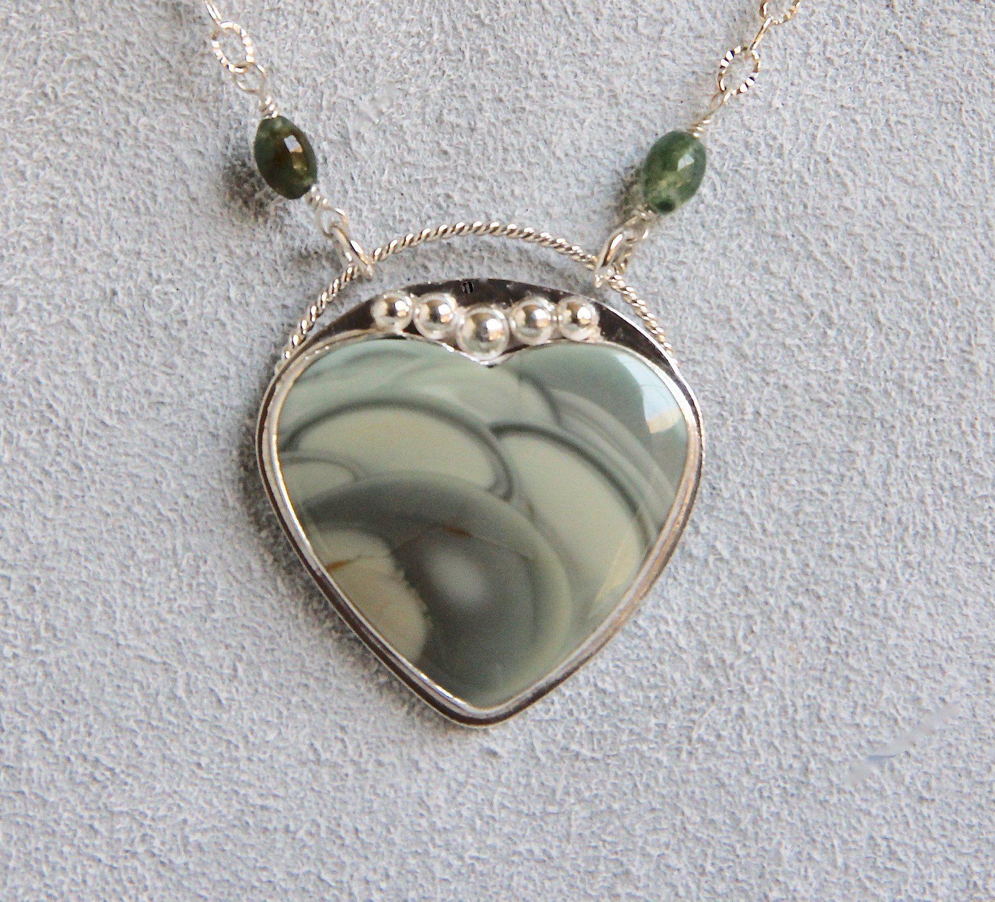 Imperial jasper heart cabochon pendant necklace silver bezel set