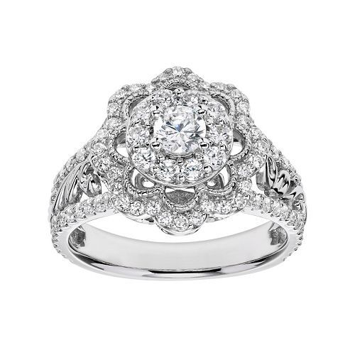 aa351e06ce88 Simply Vera Vera Wang Diamond Flower Engagement Ring in 14k White Gold (1  Carat T.W.)