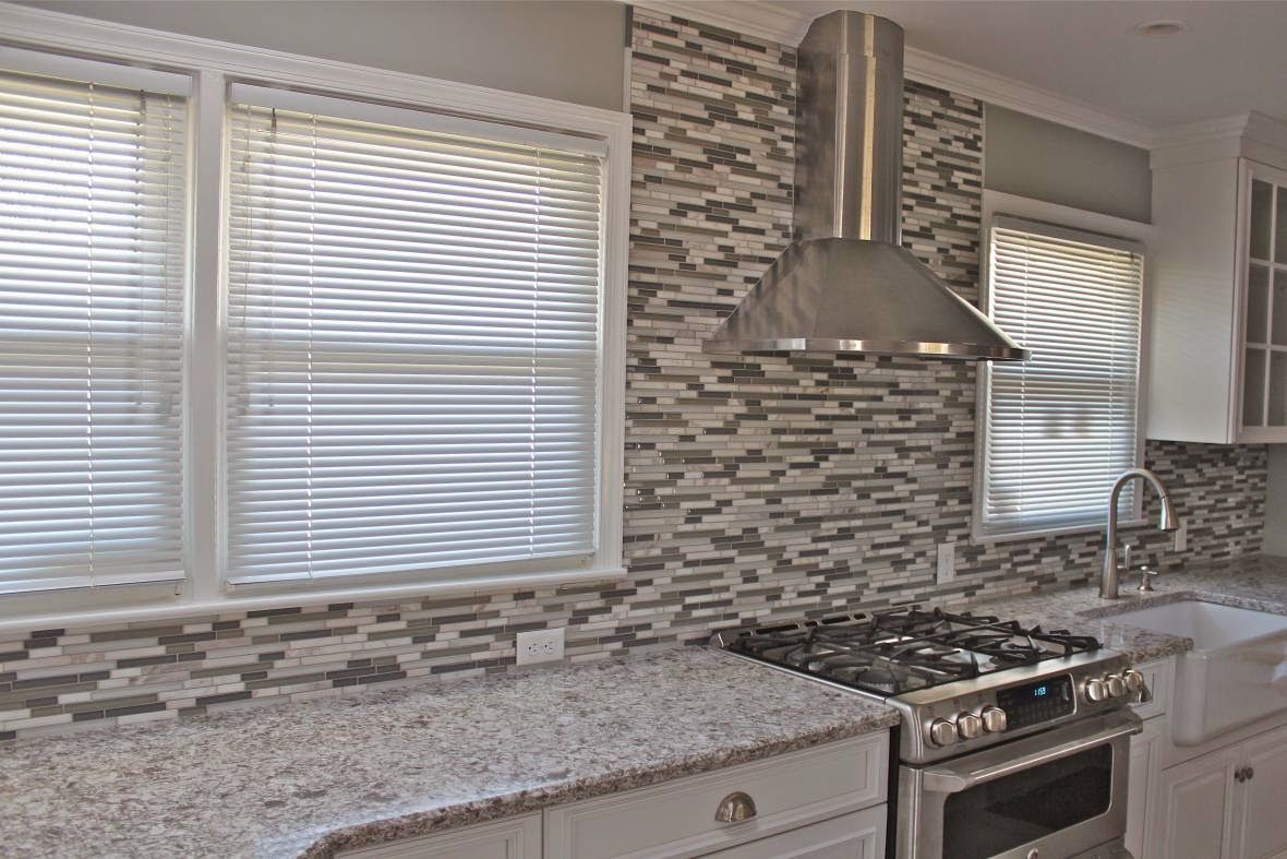 deluxe black grey beige glass tile kitchen backsplash feature big