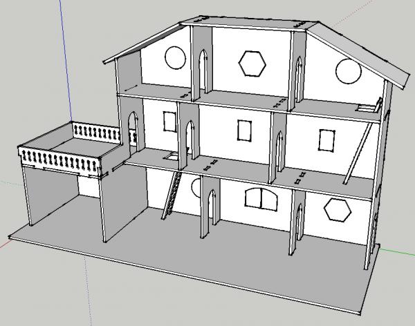 Maison de poup e d coupe laser par mokozore jouets bois diy barbie et crafts for Deco laser maison