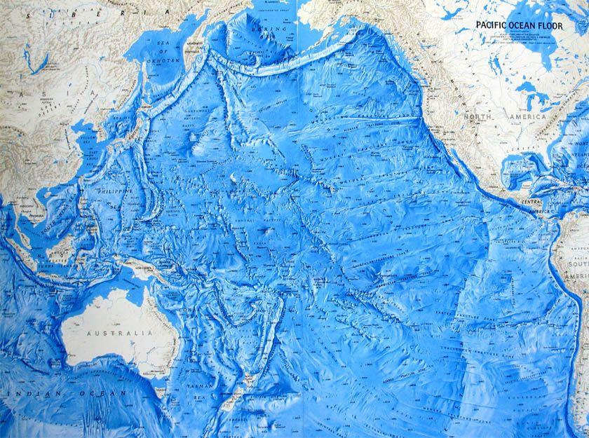Pacific Ocean Ocean Floor Relief Maps Detailed Maps of Sea and