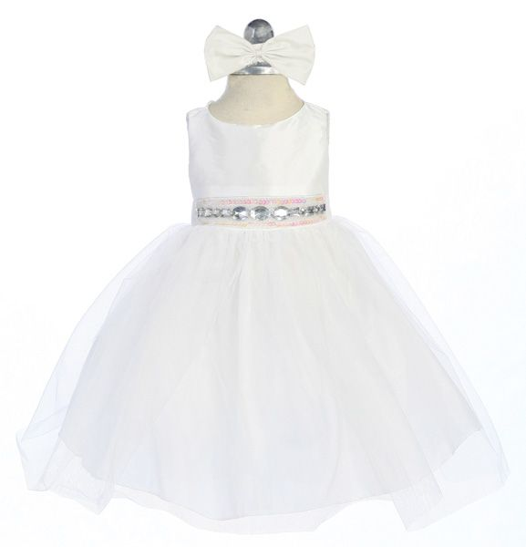 White Baby Dress With Rhinestone And Tulle Skirt | Christening ...