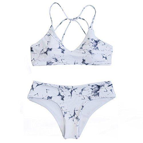f16e52f48a DaiLiWei 2 Pcs Marble Print Cross Back Top Bottom Double Side Swim Wear # Women #Bikini Sets, White 2, Medium