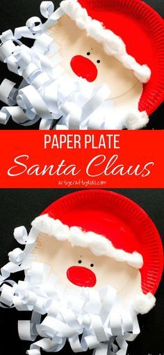 Arty Crafty Kids | Craft | Paper Plate Santa Claus | A super fun and easy & Paper Plate Santa Claus | Santa crafts Crafty kids and Christmas paper